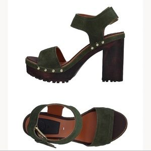 Gioseppo Green Leather High Heel Sandals, 10